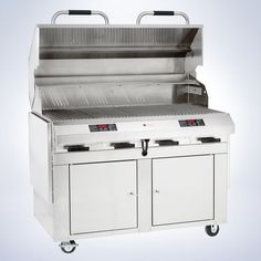 The 8800 series closed-base flameless electric outdoor grill is the epitome of luxury grilling and size. It's a self-contained grill kitchen large enough to prepare a grilled feast for a crowd. The side-by-side cabinets below can stow all your grilling utensils, pizza and fish pans, grill brushes and serving ware, too. The integrated shelves are sturdy and fold down for easy storage. The dual digital temperature controls allow for grilling at two different temperatures.