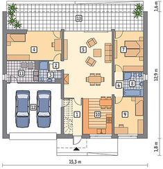 Projekt domu Murator C365j Przejrzysty - wariant X 104,50 m² - koszt budowy - EXTRADOM Small Modern House Plans, Facade House, Floor Plans, Cottage, How To Plan, Polish, Manufactured Housing, Log Projects, Home Plans