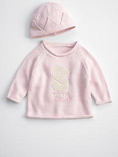 knit baby sweater + hat