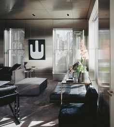 Metal Walls in Tom Ford's Living Room | via Fashionologie |House & Home