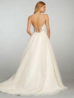 A-line Spaghetti Straps Organza Satin Sweep Train Ivory Lace Wedding Dresses at Millybridal.com