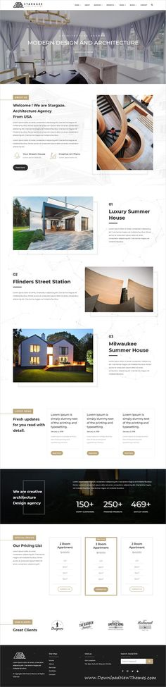 Stargaze is a clean, stylish and modern design 4in1 responsive #WordPress theme for #architecture and #interior design agency website to download & live preview click on image or Visit #webdesign