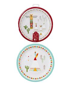 """Look at this Pow Wow Party 9"""" Round Plates - Set of 24 on #zulily today!"""