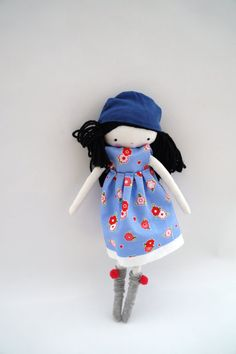 Handmade rag doll Sara ooak cloth art rag by lassandaliasdeana