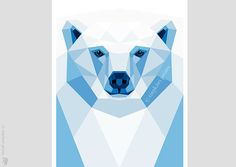 Polar bear, Geometrische druk, Originele illustratie, animal print, Minimal art, Kunst van de Muur