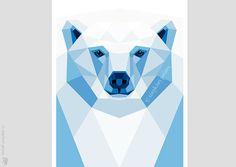 Polar bear, Ice blue bear portrait, Geometric print, Original illustration, Animal print, Minimal art, Nursery wall art