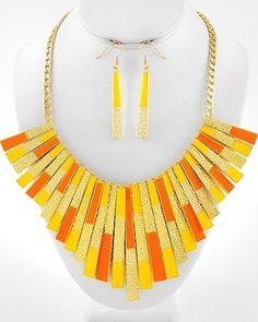 Stylish Runway Flair Bib Gold Yellow & Orange Bold Statement Chunky Necklace Set