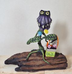Halloween Venus Fly Trap Plant Sweet Treats for ME Folk Art One of a kind hand sculpted Halloween Decor by llacarve on Etsy