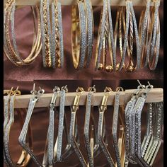 Beautiful Extra Large Hoops. Gold Plated Faux Diamond Encrusted. Sold Separately Jewelry Earrings