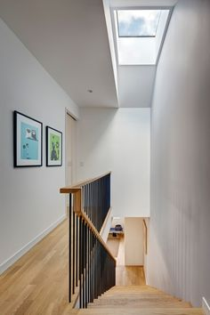 Street House in Brooklyn - e-architect Staircase Railings, Modern Staircase, Staircase Design, Staircase Ideas, Staircases, House Staircase, Wood Frame House, Straight Stairs, Magazin Design