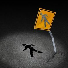 Traffic accident injury concept as a damaged road sign with a person pedestrian symbol fallen on the floor with broken bones and physical pain after a car crash Personal Injury Claims, Personal Injury Lawyer, Distracted Driving, Injury Attorney, Slip And Fall, I Need To Know, Pedestrian, El Paso
