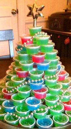 Jello Shot Christmas Tree Recipe Video Instructions ~ It Looks amazing... Great as a centerpiece!