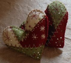 Crazy Quilt Felt Heart Ornaments by BananaBugAndZod on Etsy