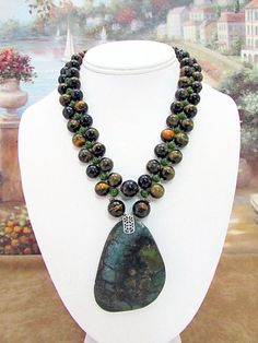 Tigereye and Jade Necklace with Turquoise Pendant - TE10 by daksdesigns on Etsy