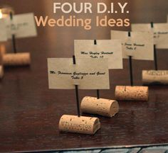 I like this idea for place-settings - a fun excuse to drink wine! These make me want to make cork boats...