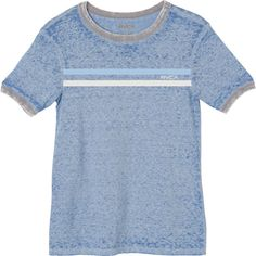 RVCA Women's Stripe Chest Ringer T-Shirt (€26) ❤ liked on Polyvore featuring tops, t-shirts, baja blue, vintage style t shirts, striped t shirt, graphic tees, striped shirt and blue striped shirt