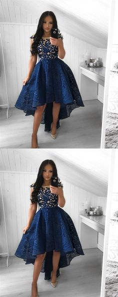 Prom Dresses For Teens, A-Line Crew Cap Sleeves High-Low Royal Blue Lace Prom Dress with Appliques Short prom dresses and high-low prom dresses are a flirty and fun prom dress option. Elegant Bridesmaid Dresses, High Low Prom Dresses, Prom Dresses For Teens, Trendy Dresses, Nice Dresses, Short Dresses, Dresses With Sleeves, Cap Sleeves, Fancy Dress For Teens