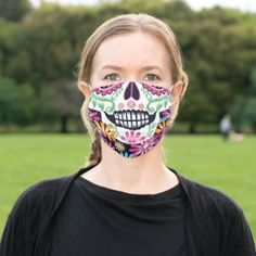 May 2020 - Day of the Dead Sugar Skull Colorful Flowers Cloth Face Mask Skull Face Mask, Diy Face Mask, Face Masks, Flower Skull, Shopping Day, Colorful Flowers, Flower Patterns, Snug Fit, Sensitive Skin