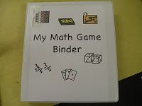 Put my math games in a binder for each student? Good idea.