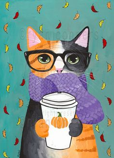 Autumn Pumpkin Calico Coffee Cat Original Folk by KilkennyCatArt