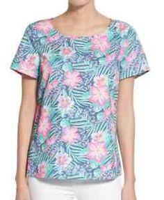 Women 039 s Vineyard Vines Island Floral Print Cotton Top Size x Small Blue $118 | eBay
