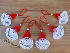 Handmade set of 6 crochet Santa, stars, Christmas Tree Ornaments by galiacrochet… Crochet Santa, Christmas Crochet Patterns, Free Crochet, Santa Ornaments, Christmas Tree Decorations, Christmas Tree Ornaments, Etsy Christmas, Handmade Christmas, Christmas Christmas