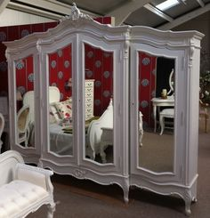 FW4999TMProvencial Triple Armoire (Mirrored) - The French Furniture Company