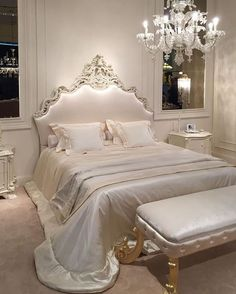 The design of the bed is also important for the bedroom. The bed with unique details will help you to put less effort into the room decorations. Royal Bedroom, Glam Bedroom, Bedroom Decor, Bedroom Ideas, White Bedroom, Sparkly Bedroom, Rich Girl Bedroom, Bedroom Designs, Aesthetic Bedroom
