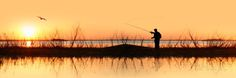 Silhouette of a Man Fishing Photographic Print by Panoramic Images at AllPosters.com