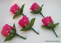 Groomsmen Boutonniere, White Boutonniere, Boutonnieres, Wedding Flower Design, Beach Wedding Flowers, Faux Flowers, Real Flowers, Silk Flowers, Hot Pink Weddings
