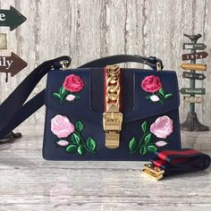 Gucci Sylvie Embroidered Flower Leather Shoulder Bag 421882 Size: cm Tips: I would really like to recommend this site http. Canvas Handbags, Cheap Handbags, Gucci Handbags, Luxury Handbags, Purses And Handbags, Gucci Outlet Online, Gucci Bags Outlet, Gucci Handbag Price, Gucci Sylvie Bag