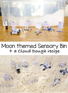 This moon space themed sensory bin is a wonderful addition to your kids preschool space theme activities . There is also a moon sand cloud dough recipe that is the perfect consistency to get your toddler or preschooler exploring. We love creating sensory Space Theme Preschool, Space Activities For Kids, Preschool At Home, Winter Activities, Toddler Sensory Bins, Sensory Activities Toddlers, Sensory Play, Toddler Fun, Science Activities