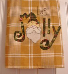 Jolly Old Elf a Homespun Tea Towel Christmas by TwoGirlsLaughing