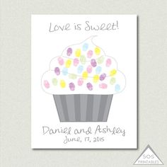 Love is Sweet Cupcake Fingerprint Guest Book, Wedding thumbprint guestbook - PRINTABLE PDF  Also available in JPEG format upon request.  HOW IT