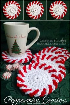 Peppermint Coasters – Free Crochet Pattern – The Purple Poncho, Crochet by Carolyn #ChristmasInJuly #CrochetCoasters #FreeCrochetPattern