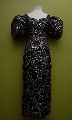 Vintage Black & Silver J. Reynolds Designs Atlanta Evening Gown Size 9/10 FREE SHIPPING