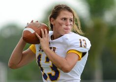 "Girl Is Pioneer at Quarterback for Florida High School  Erin DiMeglio, a 17-year-old senior at South Plantation High School, is believed to be the first girl to play quarterback in a Florida high school football game.    ""We'd be warming up, and people would stop over and wait for her to throw to see if she could play,"" the Paladins' starting quarterback, John Franklin, said. ""And then they'd walk away like, 'Oh, they have a girl, and she's for real'."