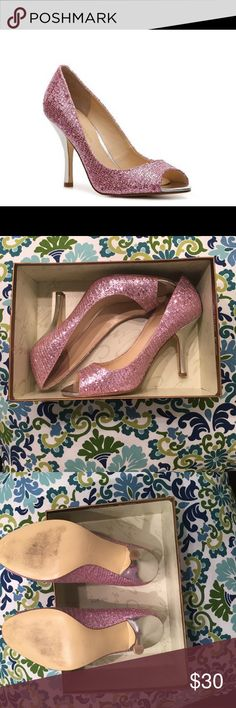 Enzo Angiolini Pink Maylie Pumps These adorable heels are perfect for prom or any other occasion! They have pink sparkle and a silver heel. Peep toe. I've only worn them once (for prom a million years ago) and they have just been sitting in my closet. Near perfect condition. There is a small scratch on the heel of the right shoe (as pictured). They come with the box! Enzo Angiolini Shoes Heels