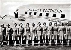 1940s: With the world at war, airline uniforms had a decidedly military bearing. But crisp pleats and good posture weren't enough: warm smiles were also considered part of the job. Chicago & Southern's flight attendants were trained to reflect the hospitality of their airline's southern roots.