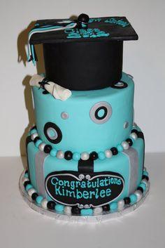 Teal grad cake
