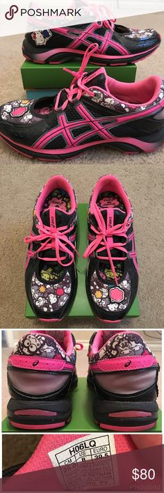 Black and Hot Pink Asics Hello Kitty Running Shoes Black and hot pink Asics for Hello Kitty collaboration from 2009. Pop accents and a Hello Kitty accent on the right shoe. Top of each shoe does have a cutout that makes them even more unique. Soles are in excellent shape. Very rare and hard to find especially in such great condition. Size 8. Hello Kitty Shoes Athletic Shoes