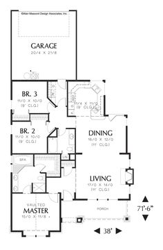 One Level Plan with Garage in Back. Plan 1101 The Brogan is a 1520 SqFt Craftsman style home plan  by Alan Mascord Design Associates. View our entire house plan collection on Houseplans.co.