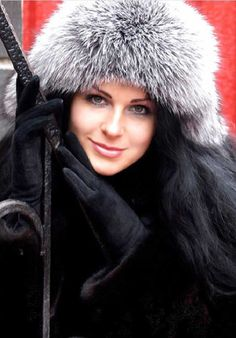 mink coat & fox fur hat