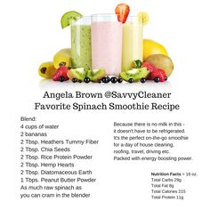 On the go all day? House Cleaning, Roofing, Construction, Teaching, Training? Need to be 100% in  mind, body and brain? Make this daily #smoothie - It needs no refrigeration and is packed with energy boosting power. It's the one I make every day and swear by. - Angela Brown Oberer, The House Cleaning Guru