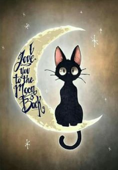 This is Jiji, the cat from Kiki's Delivery Service! I love this film! I love you to the moon & back by Tim Shumate <- His artwork is awesome! Crazy Cat Lady, Crazy Cats, I Love Cats, Cute Cats, Funny Cats, Cute Animals, Illustrations, Drawings, Artwork