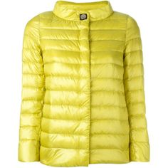 Herno Button Up Puffer Jacket (30,650 INR) ❤ liked on Polyvore featuring outerwear, jackets, puffy jacket, button down jacket, goose down jacket, yellow puffer jacket and herno