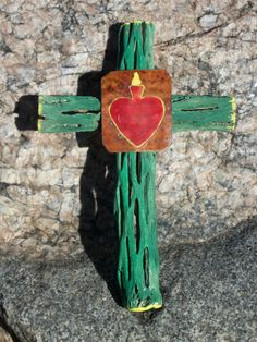 Cholla Wood  Flaming Heart Cross  Original Art / by CathyDeLeRee, $20.00