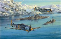 Eismeer Patrol - The Kriegsmarine Portfolio, by Anthony Saunders - On the morning of March 11th 1943, Fw190s from IV./JG5 fly escort to the mighty battleship Tirpitz and a screening fleet of destroyers and torpedo boats as they begin a voyage north to Bogen Bay during Operation Rostock.  ($145) #Aviation #Art