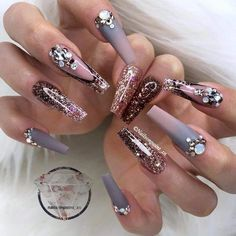 Cute Nail Art, Beautiful Nail Art, Cute Nails, Pretty Nails, Fingernail Designs, Acrylic Nail Designs, Nail Art Designs, Bling Nails, Stiletto Nails