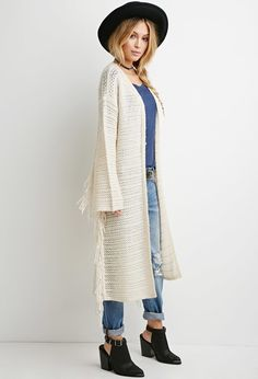 Loose Knit Tasseled Cardigan from Forever21